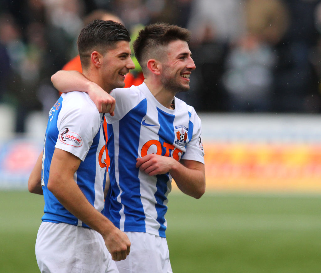 3rd February 2018, Rugby Park, Kilmarnock, Scotland; Scottish Premiership football, Kilmarnock versus Celtic; Jordan Jones and Greg Taylor celebrate at the final whistle Rangers
