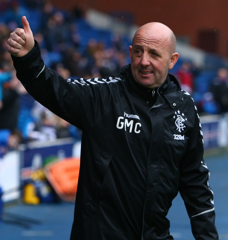 20th January 2019, Ibrox Stadium, Glasgow, Scotland; Mid season football friendly, Rangers versus Helsinki; Gary McAllister gives a thumbs up to the fans
