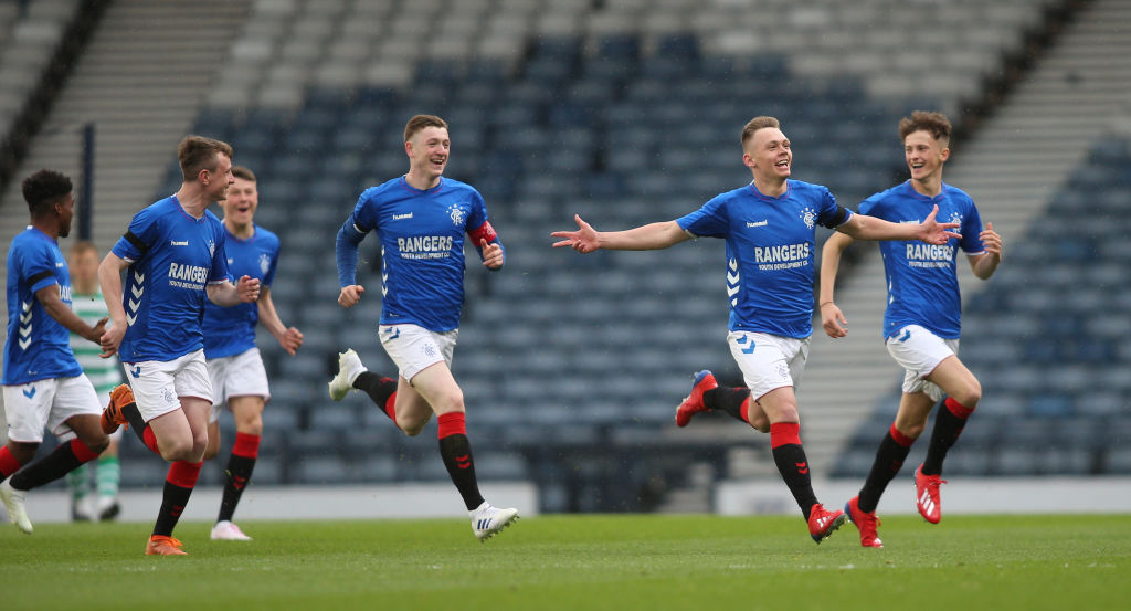 25th April 2019, Hampden Park, Glasgow, Scotland; Scottish FA Youth Cup Final, Celtic U18s versus Rangers U18s; Ciaran Dickson of Rangers celebrates making it 1-0 to rangers in the 5th minute