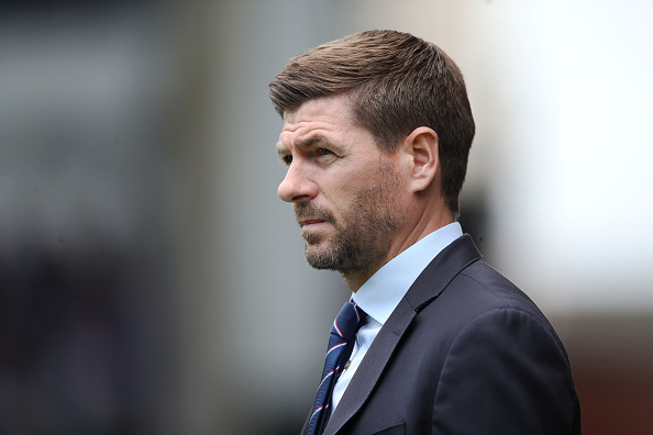 GLASGOW, SCOTLAND - MAY 05: Rangers manager Steven Gerrard is seen during the Scottish Premier League match between Rangers and Hibernian at Ibrox Stadium on May 05, 2019 in Glasgow, Scotland.