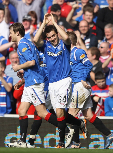GLASGOW, SCOTLAND - MARCH 25: Andrew Little of Rangers celebrates after scoring during the Scottish Clydesdale Bank Scottish Premier League match between Rangers and Celtic at Ibrox Stadium on March 25, 2012 in Glasgow, Scotland.