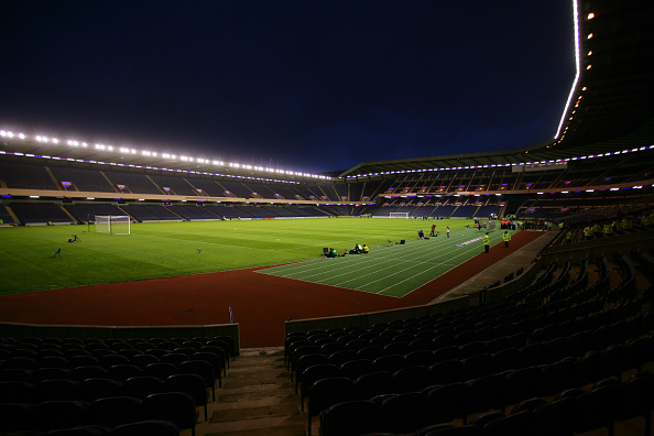 Murrayfield Stadium - set up for football in what is traditionally a rugby union stadium