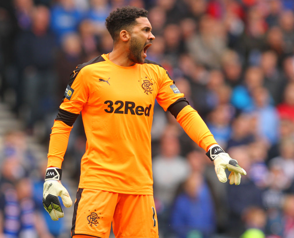 15th April 2018, Hampden Park, Glasgow, Scotland; Scottish Cup football, semi final, Celtic versus Rangers; Rangers' Wes Foderingham roars instructions to his side
