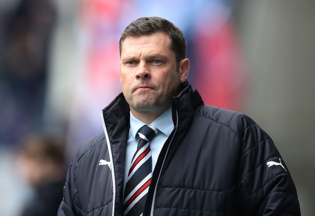 GLASGOW, SCOTLAND - APRIL 22: Rangers manager Graeme Murty looks on during the Ladbrokes Scottish Premiership match between Rangers and Hearts at Ibrox Stadium on April 22, 2018 in Glasgow, Scotland.