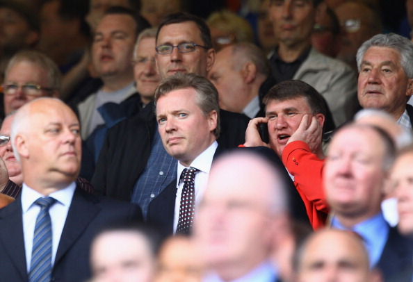 GLASGOW, SCOTLAND - MAY 07: Craig Whyte new owner of Rangers arrives in the stand during the Clydesdale Bank Premier League match between Rangers and Hearts at Ibrox Stadium on May 7, 2011 in Glasgow, Scotland.