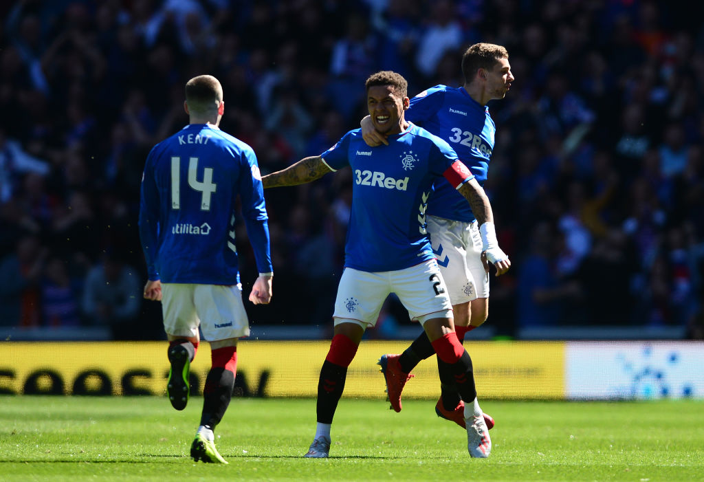 GLASGOW, SCOTLAND - MAY 12: James Tavernier of Rangers celebrates scoring the opening goal of the game with his team mates during the Ladbrokes Scottish Premiership match between Rangers and Celtic at Ibrox Stadium on May 12, 2019 in Glasgow, Scotland.