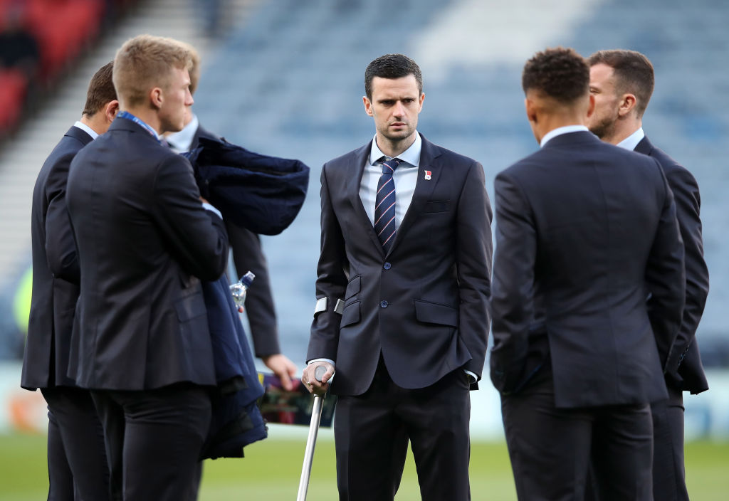 GLASGOW, SCOTLAND - OCTOBER 28: Jamie Murphy of Rangers takes a look around the pitch prior to the Betfred Scottish League Cup Semi Final between Aberdeen and Rangers at Hampden Park on October 28, 2018 in Glasgow, Scotland.