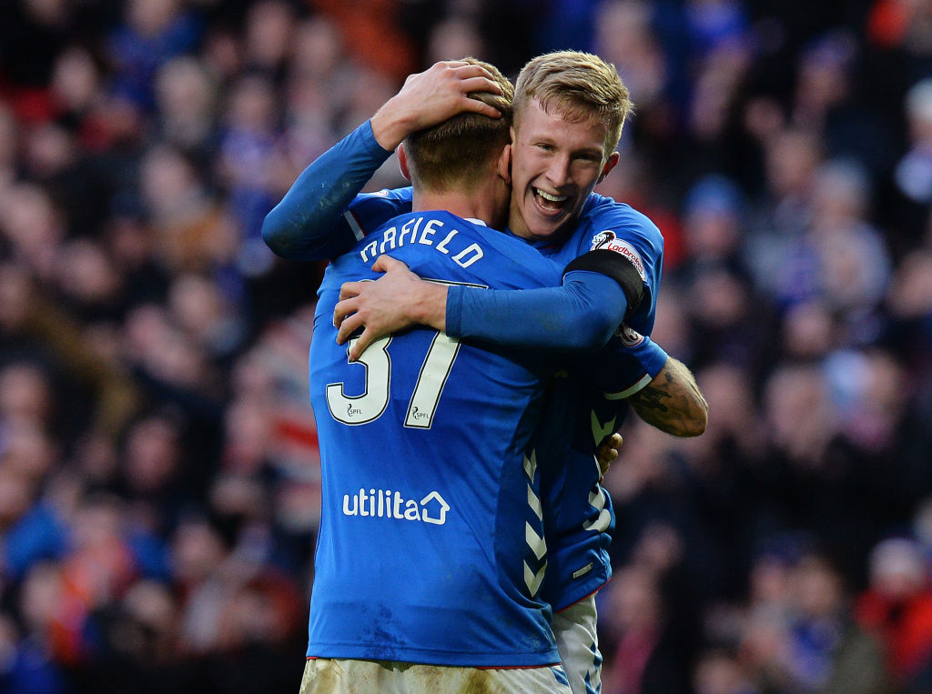 GLASGOW, SCOTLAND - DECEMBER 29: Ross McCrorie and Scott Arfield of Rangers celebrates at the final whistle as Rangers beat Celtic 1-0 during the Ladbrokes Scottish Premiership match between Rangers and Celtic at Ibrox Stadium on December 29, 2018 in Glasgow, Scotland.