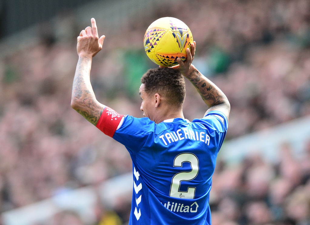 GLASGOW, SCOTLAND - MARCH 31: James Tavernier of Rangers in action during the Ladbrokes Scottish Premiership match between Celtic and Rangers at Celtic Park on March 31, 2019 in Glasgow, Scotland.