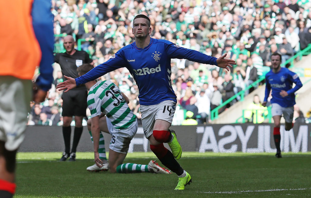 GLASGOW, SCOTLAND - MARCH 31: Ryan Kent of Rangers celebrates after he scores during The Ladbrokes Scottish Premier League match between Celtic and Rangers at Celtic Park on March 31, 2019 in Glasgow, Scotland.