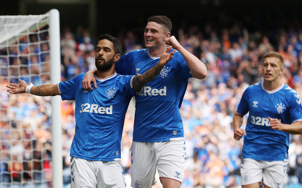 GLASGOW, SCOTLAND - JULY 07: Daniel Candeias of Rangers celebrates after scoring the opening goal during the pre season friendly match between Rangers and Oxford United at Ibrox Stadium on July 07, 2019 in Glasgow, Scotland.