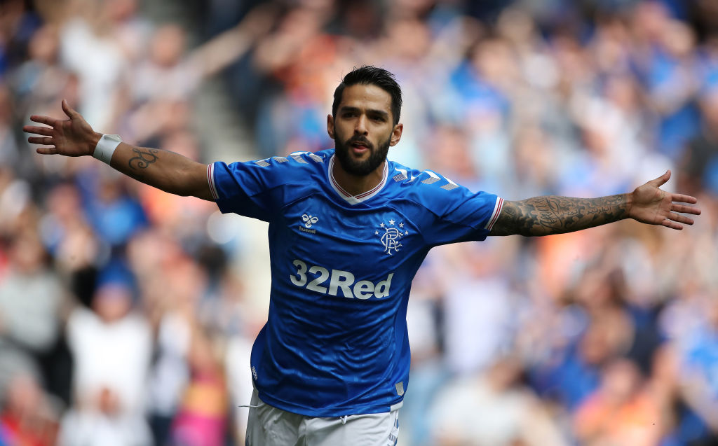 GLASGOW, SCOTLAND - JULY 07: Daniel Candeias celebartes after he scores the opening goal during the pre season friendly match between Rangers and Oxford United at Ibrox Stadium on July 07, 2019 in Glasgow, Scotland. The winger has been left out of Rangers Europa League squad.
