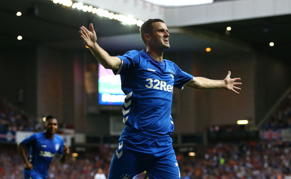 GLASGOW, SCOTLAND - JULY 12: Jamie Murphy of Rangers celebrates scoring his sides first goal during the UEFA Europa League Qualifying Round match between Rangers and Shkupi at Ibrox Stadium on July 12, 2018 in Glasgow, Scotland.