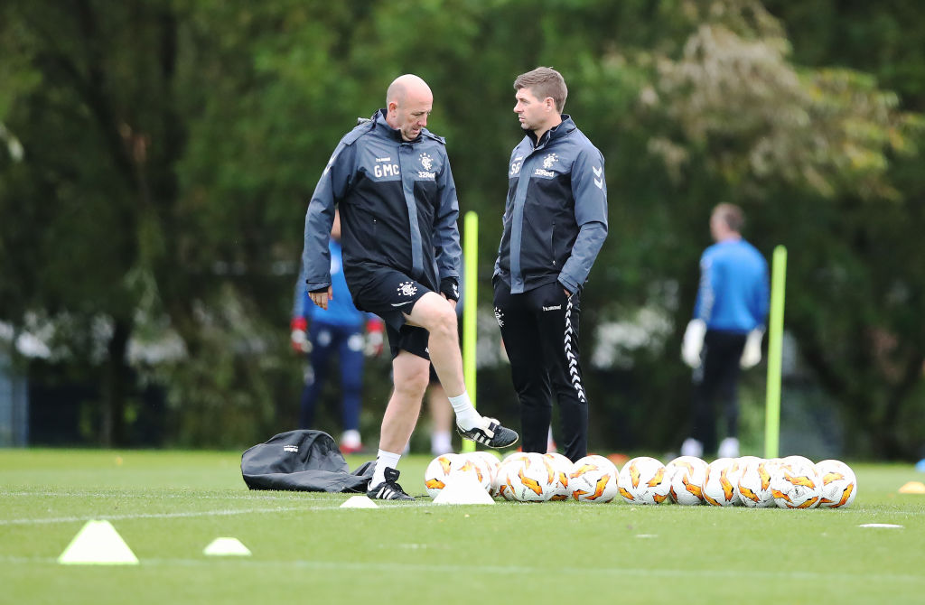 GLASGOW, SCOTLAND - OCTOBER 03: Rangers manager Steven Gerrard and assistant Gary McAllister are seen during a training session ahead of the UEFA Europa League Group G match between Rangers and SK Rapid Wien at Rangers Auchenhowie Training Centre on October 3, 2018 in Glasgow, United Kingdom.