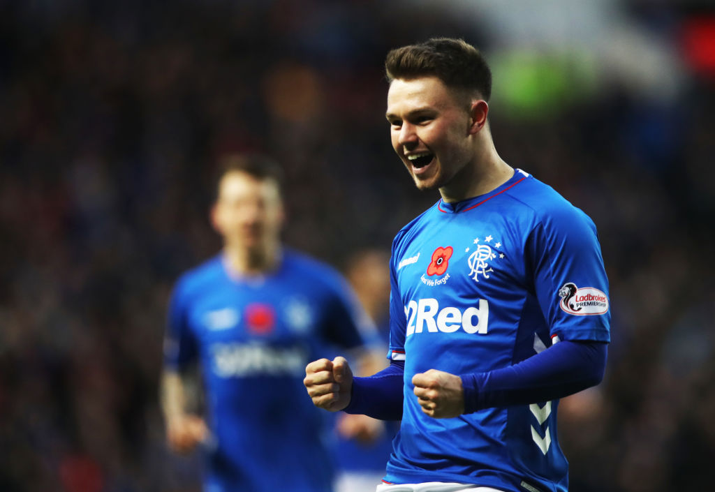 GLASGOW, SCOTLAND - NOVEMBER 11: Glenn Middleton of Rangers celebrates scoring his team's fourth goal during the Ladbrokes Scottish Premiership match between Rangers and Motherwell at Ibrox Stadium on November 11, 2018 in Glasgow, Scotland.
