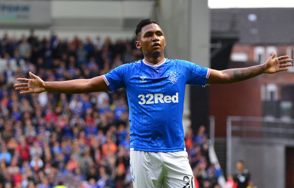 GLASGOW, SCOTLAND - AUGUST 15: Alfredo Morelos of Rangers celebrates scoring a goal in the first half during the UEFA Europa League Third Qualifying Round Second Leg match between Rangers and Midtjylland at Ibrox Stadium on August 15, 2019 in Glasgow, Scotland.