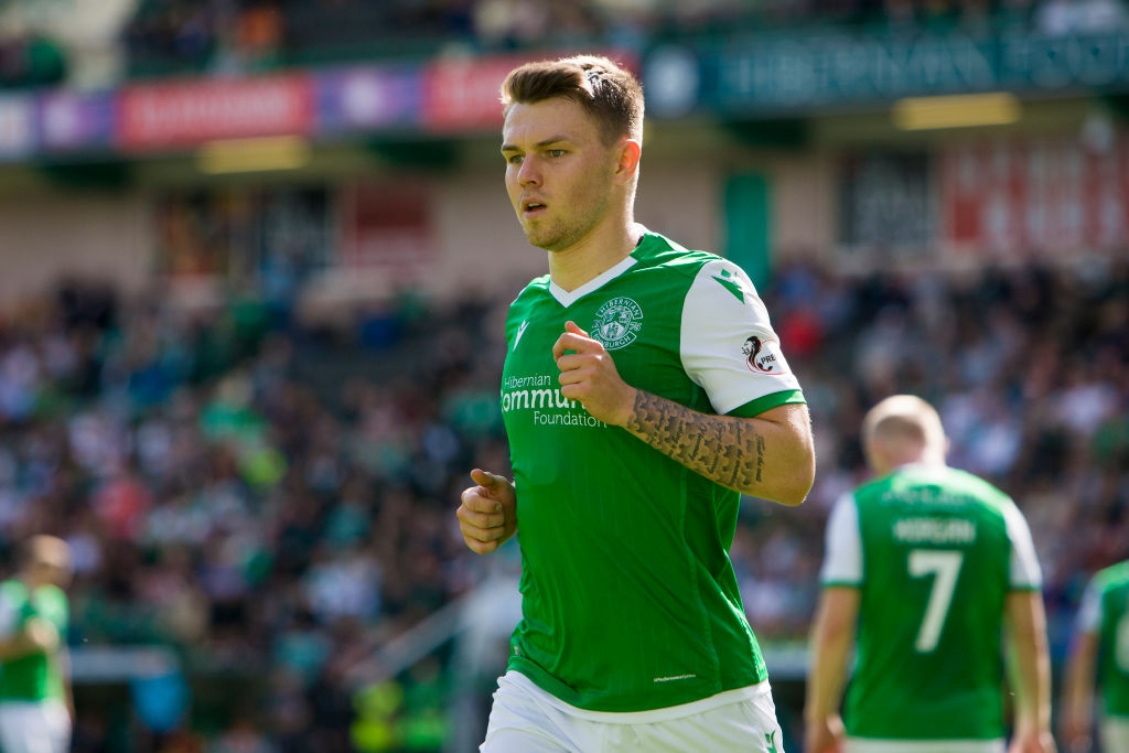 Glenn Middleton of Hibernian during the last 16 Betfred Cup match between Hibernian and Greenock Morton at Easter Road on 17 August, 2019 in Edinburgh, Scotland.