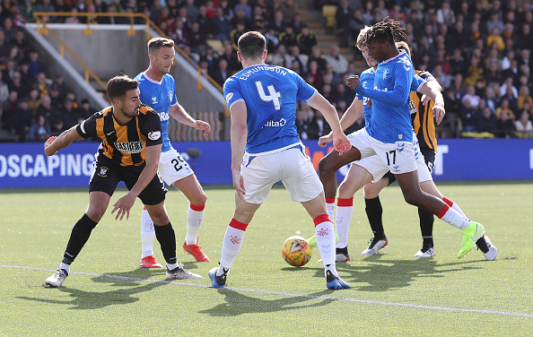 METHIL, SCOTLAND - AUGUST 18: Joe Aribo of Rangers scores his team's third goal during the Scottish League Cup second round match between East Fife and Rangers at Bayview Stadium on August 18, 2019 in Methil, Scotland.