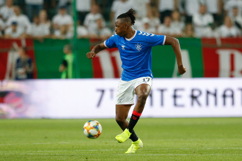 WARSAW, POLAND - AUGUST 22: Joe Aribo of Rangers FC in action during the UEFA Europa League Play Off First Leg match between Legia Warsaw and Rangers FC on August 22, 2019 in Warsaw, Poland.