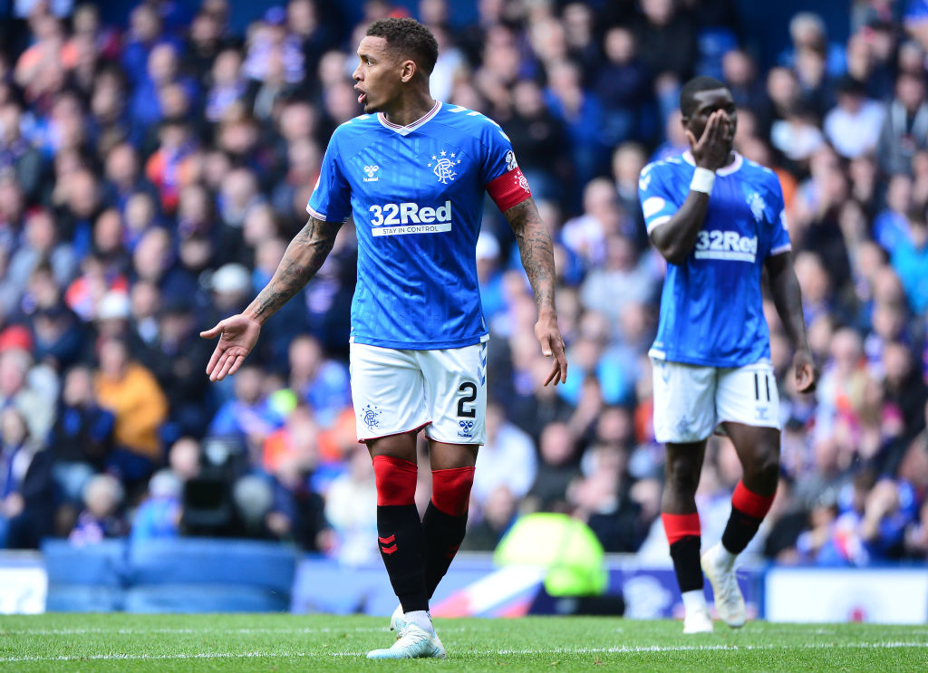 GLASGOW, SCOTLAND - SEPTEMBER 01: James Tavernier of Rangers reacts during the Ladbrokes Premiership match between Rangers and Celtic at Ibrox Stadium on September 1, 2019 in Glasgow, Scotland.
