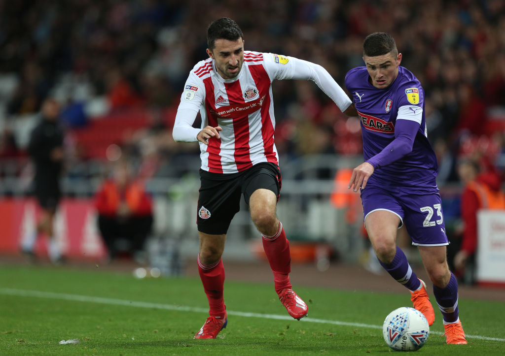 Jake Hastie of Rotherham United battles with Sunderland's Conor McLaughlin during the Sky Bet League 1 match between Sunderland and Rotherham United at the Stadium Of Light, Sunderland on Tuesday 17th September 2019.