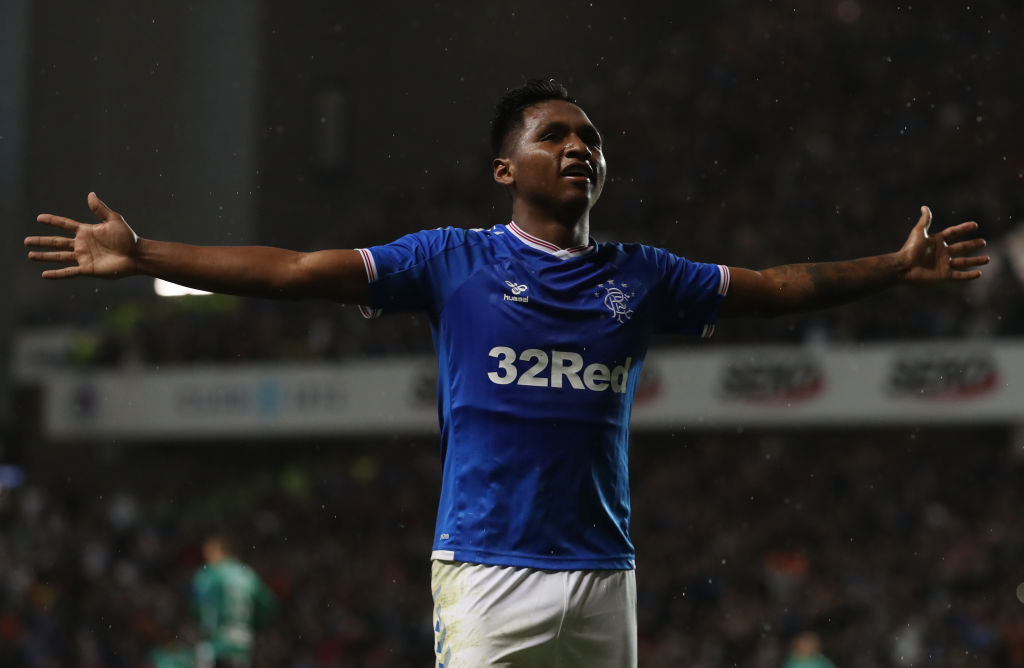 GLASGOW, SCOTLAND - AUGUST 29: Alfredo Morelos of Rangers celebrates scoring the winning goal during the UEFA Europa League Play Off First Leg match between Rangers FC and Legia Warsaw at Ibrox Stadium on August 29, 2019 in Glasgow, United Kingdom.