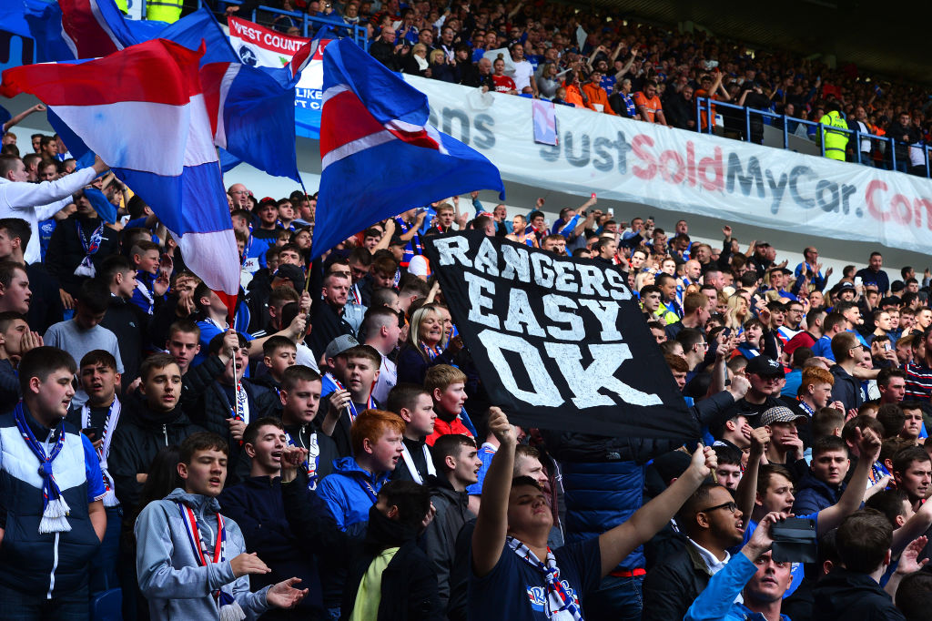 GLASGOW, SCOTLAND - SEPTEMBER 01: Rangers FC fan show their support prior to the Ladbrokes Premiership match between Rangers and Celtic at Ibrox Stadium on September 01, 2019 in Glasgow, Scotland.