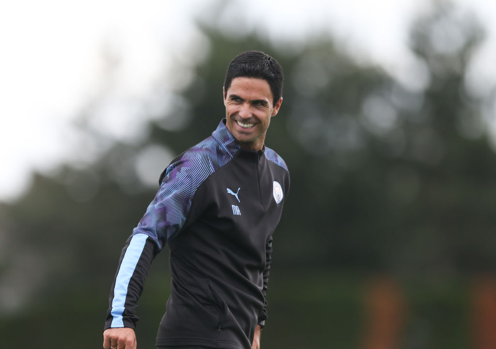 MANCHESTER, ENGLAND - JULY 12: Manchester City's Mikel Arteta at Manchester City Football Academy on July 12, 2019 in Manchester, England.