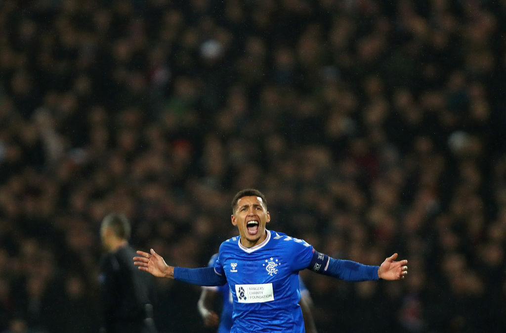 ROTTERDAM, NETHERLANDS - NOVEMBER 28: James Tavernier of Rangers FC celebrates after Alfredo Morelos of Rangers FC (not pictured) scores his sides second goal during the UEFA Europa League group G match between Feyenoord and Rangers FC at De Kuip on November 28, 2019 in Rotterdam, Netherlands.