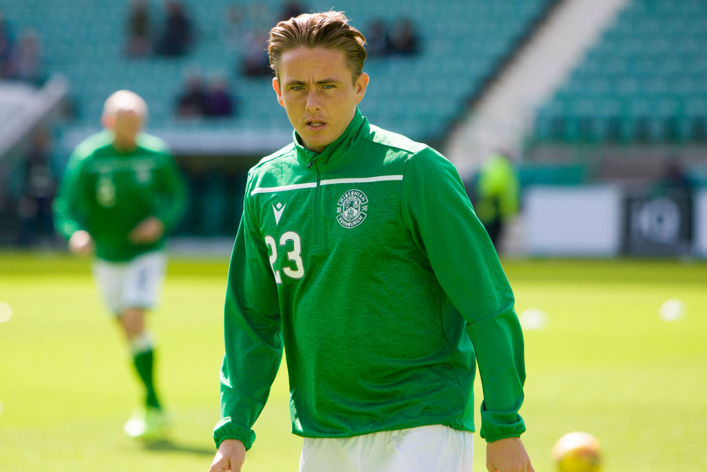Rangers Scott Allan of Hibernian warms up ahead of the last 16 Betfred Cup match between Hibernian and Greenock Morton at Easter Road on 17 August, 2019 in Edinburgh, Scotland.