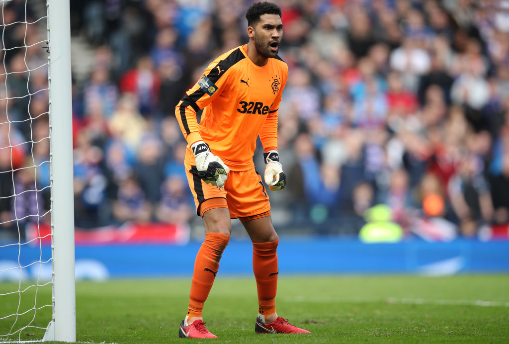 GLASGOW, SCOTLAND - APRIL 15: Wes Foderingham of Rangers during the Scottish Cup Semi Final between Rangers and Celtic at Hampden Park on April 15, 2018 in Glasgow, Scotland.