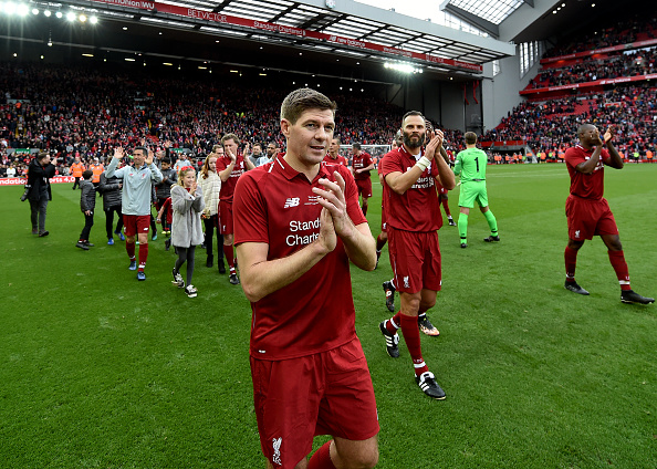 LIVERPOOL, ENGLAND - MARCH 23: (THE SUN OUT, THE SUN ON SUNDAY OUT) Steven Gerrard of Liverpool FC Legends showing his appreciation to the fans at the end of the friendly match between Liverpool FC Legends and AC Milan Glorie at Anfield on March 23, 2019 in Liverpool, England.
