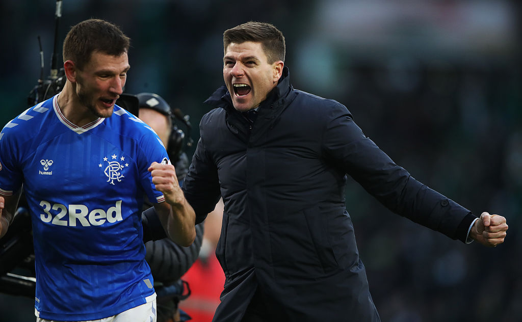 GLASGOW, SCOTLAND - DECEMBER 29: Rangers Manager Steven Gerrard celebrates at full time during the Ladbrokes Premiership match between Celtic and Rangers at Celtic Park on December 29, 2019 in Glasgow, Scotland.