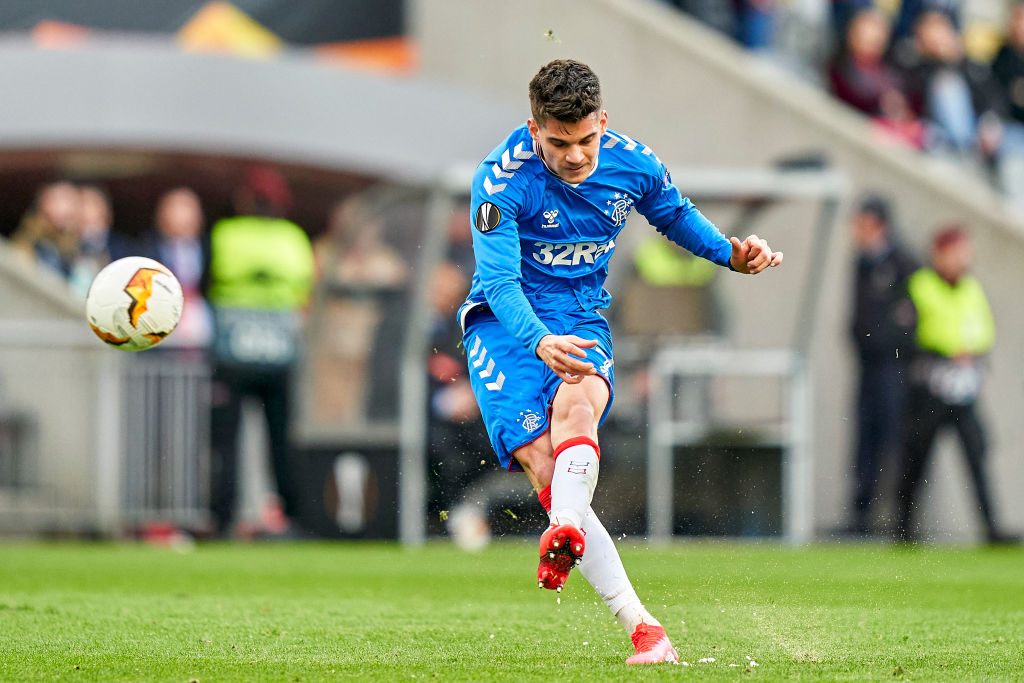 BRAGA, PORTUGAL - FEBRUARY 26: Ianis Hagi of Rangers FC shoots on goal during the UEFA Europa League round of 32 second leg match between Sporting Club Braga and Rangers FC at Estadio Municipal de Braga on February 26, 2020 in Braga, Portugal.