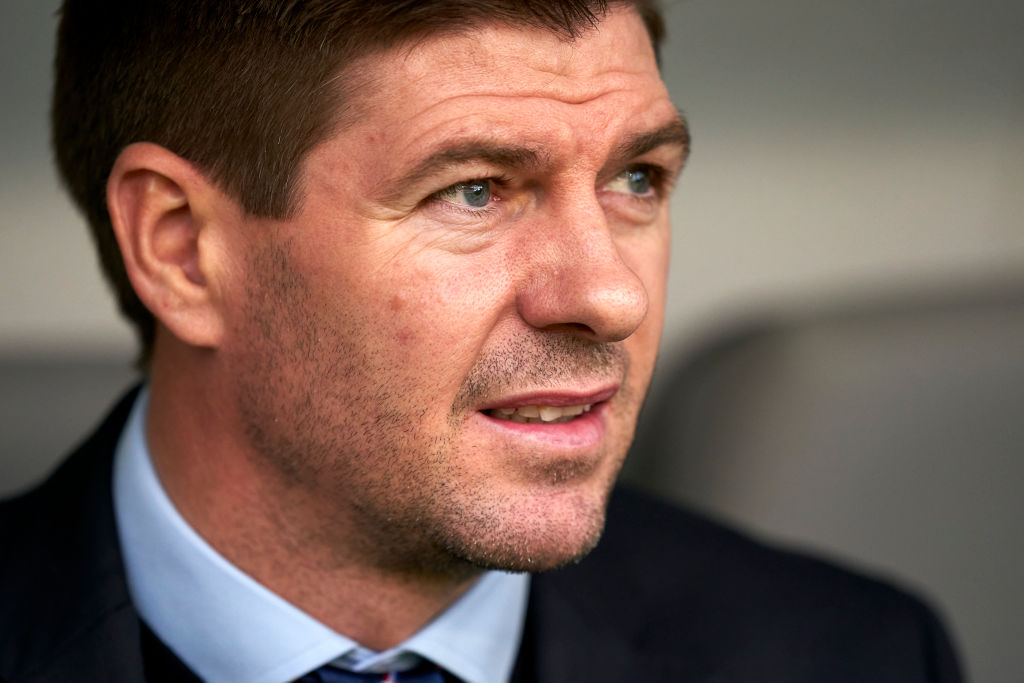 BRAGA, PORTUGAL - FEBRUARY 26: Steven Gerrard the manager of Rangers FC looks on prior to the UEFA Europa League round of 32 second leg match between Sporting Club Braga and Rangers FC at Estadio Municipal de Braga on February 26, 2020 in Braga, Portugal.