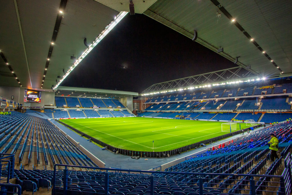 A general view of the stadium during the UEFA Europa League Group G match between Glasgow Rangers and FC Porto at Ibrox Park, Glasgow on Thursday 7th November 2019.
