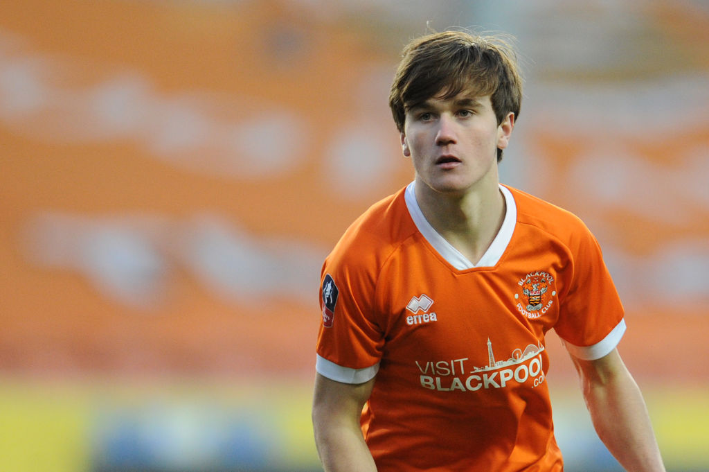 BLACKPOOL, ENGLAND - DECEMBER 01: Blackpool's Tony Weston during the FA Cup First Round match between Blackpool FC and Maidstone United at Bloomfield Road on December 1, 2019 in Blackpool, England.