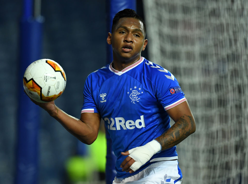GLASGOW, SCOTLAND - FEBRUARY 20: Alfredo Morelos of Rangers in action during the UEFA Europa League round of 32 first leg match between Rangers FC and Sporting Braga at Ibrox Stadium on February 20, 2020 in Glasgow, United Kingdom.