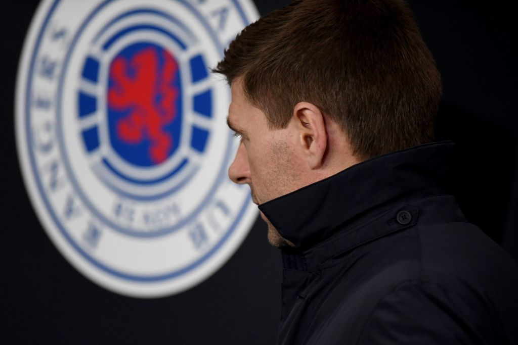 Rangers' English manager Steven Gerrard looks on prior to the UEFA Europa League round of 16 first leg football match between Rangers FC and Bayer 04 Leverkusen at the Ibrox Stadium in Glasgow on March 12, 2020. (Photo by ANDY BUCHANAN / AFP)
