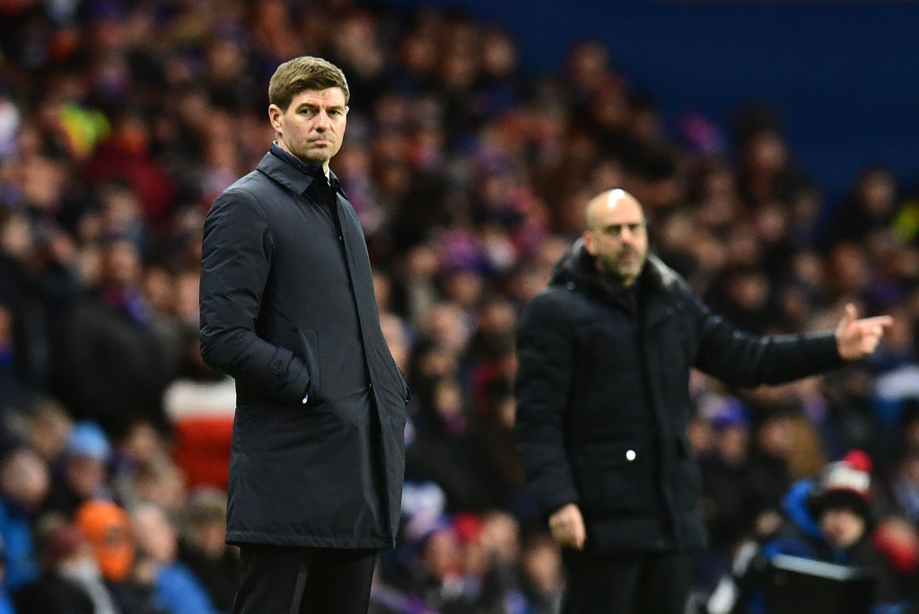 GLASGOW, SCOTLAND - MARCH 12: Steven Gerrard, Manager of Rangers FC looks on during the UEFA Europa League round of 16 first leg match between Rangers FC and Bayer 04 Leverkusen at Ibrox Stadium on March 12, 2020 in Glasgow, United Kingdom.