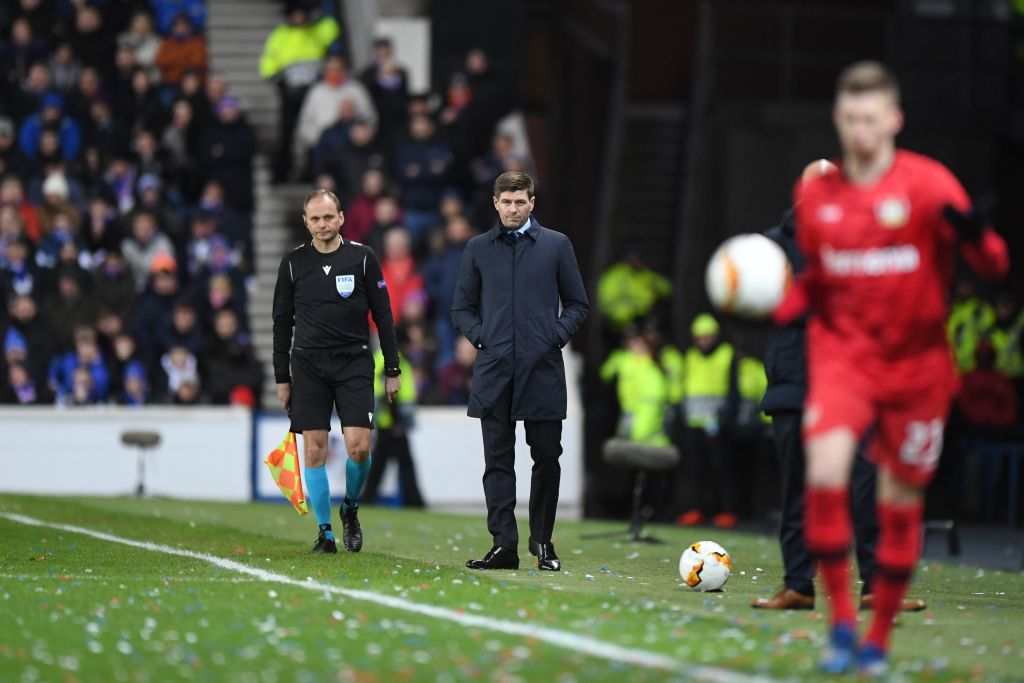 Rangers' English manager Steven Gerrard watches his players from the touchline during the UEFA Europa League round of 16 first leg football match between Rangers FC and Bayer 04 Leverkusen at the Ibrox Stadium in Glasgow on March 12, 2020.