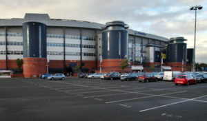 View of the exterior of Hampden Park stadium and car park before the 2014 World Cup qualifying football match between Scotland and Macedonia at Hampden Park in Glasgow, Scotland on September 11, 2012. AFP PHOTO/IAN MacNICOL