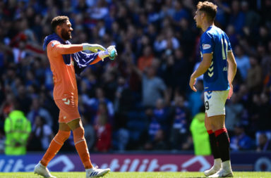 GLASGOW, SCOTLAND - MAY 12: Nikola Katic and Wes Foderingham of Rangers celebrate at the final whistle during the Ladbrokes Scottish Premiership match between Rangers and Celtic at Ibrox Stadium on May 12, 2019 in Glasgow, Scotland. (Photo by Mark Runnacles/Getty Images)