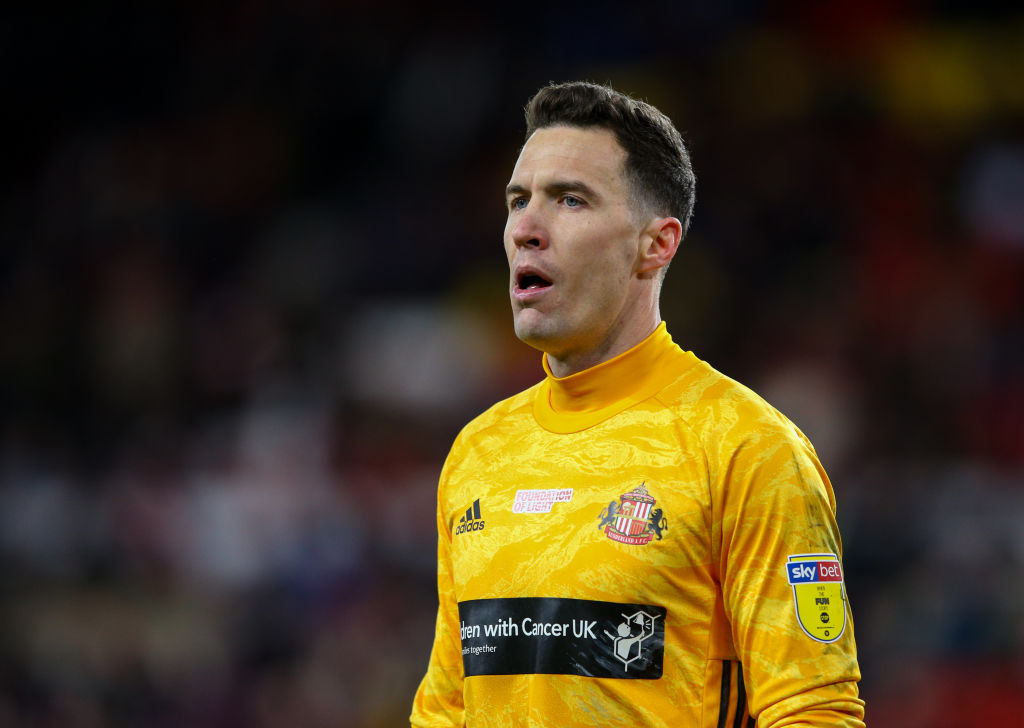 SUNDERLAND, ENGLAND - DECEMBER 14: Sunderland's Jon McLaughlin during the Sky Bet League One match between Sunderland and Blackpool at Stadium of Light on December 14, 2019 in Sunderland, England.