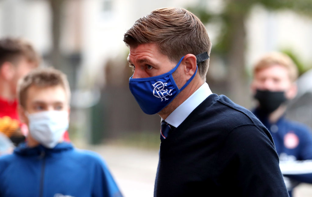 ABERDEEN, SCOTLAND - AUGUST 01: Steven Gerrard, Manager of Rangers FC arrives at the stadium prior to the Ladbrokes Premiership match between Aberdeen and Rangers at Pittodrie Stadium on August 01, 2020 in Aberdeen, Scotland. Football Stadiums around Europe remain empty due to the Coronavirus Pandemic as Government social distancing laws prohibit fans inside venues resulting in all fixtures being played behind closed doors.