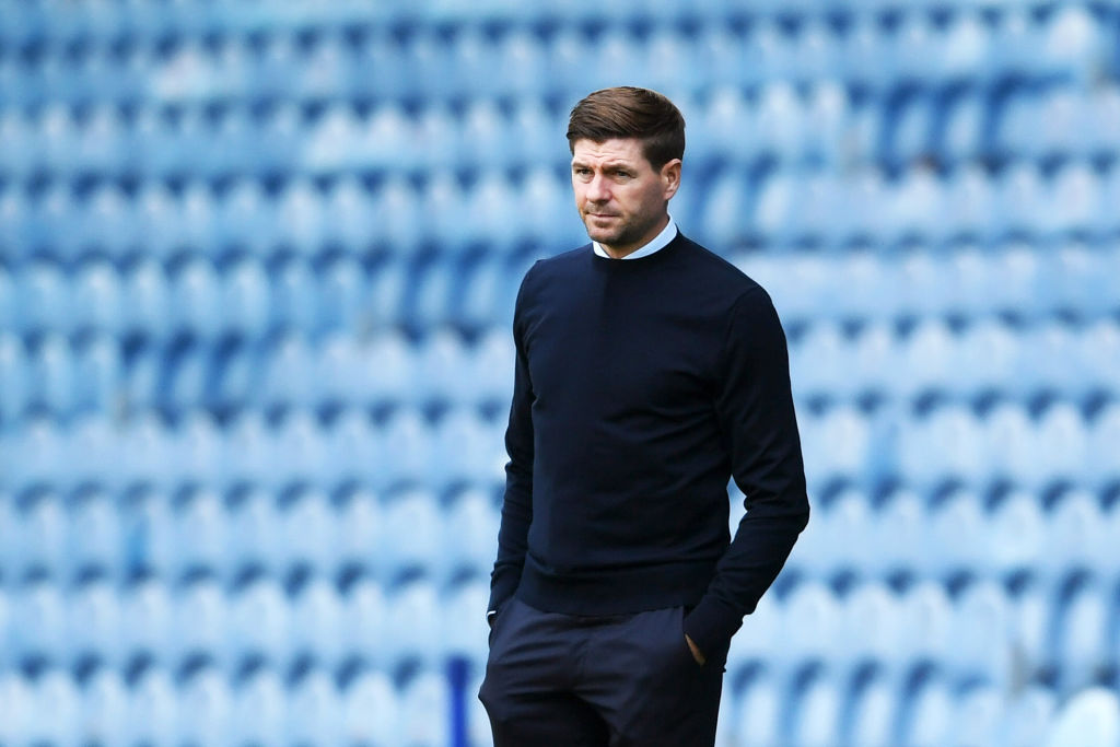 GLASGOW, SCOTLAND - AUGUST 09: Steven Gerrard, Manager of Rangers FC looks on during the Ladbrokes Scottish Premiership match between Rangers FC and St. Mirren at Ibrox Stadium on August 09, 2020 in Glasgow, Scotland.