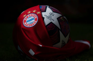 The FC Bayern Munich Club Badge and UEFA Champions League Match Ball