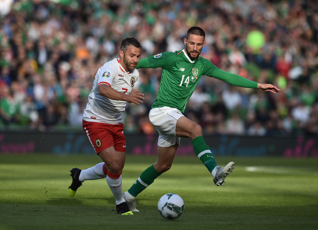 DUBLIN, IRELAND - JUNE 10: Lee Casciaro of Gibraltar and Conor Hourihane of Republic of Ireland during the UEFA Group D Euro 2020 qualifying game between Republic of Ireland and Gibraltar at Aviva Stadium on June 10, 2019 in Dublin, Ireland. Rangers