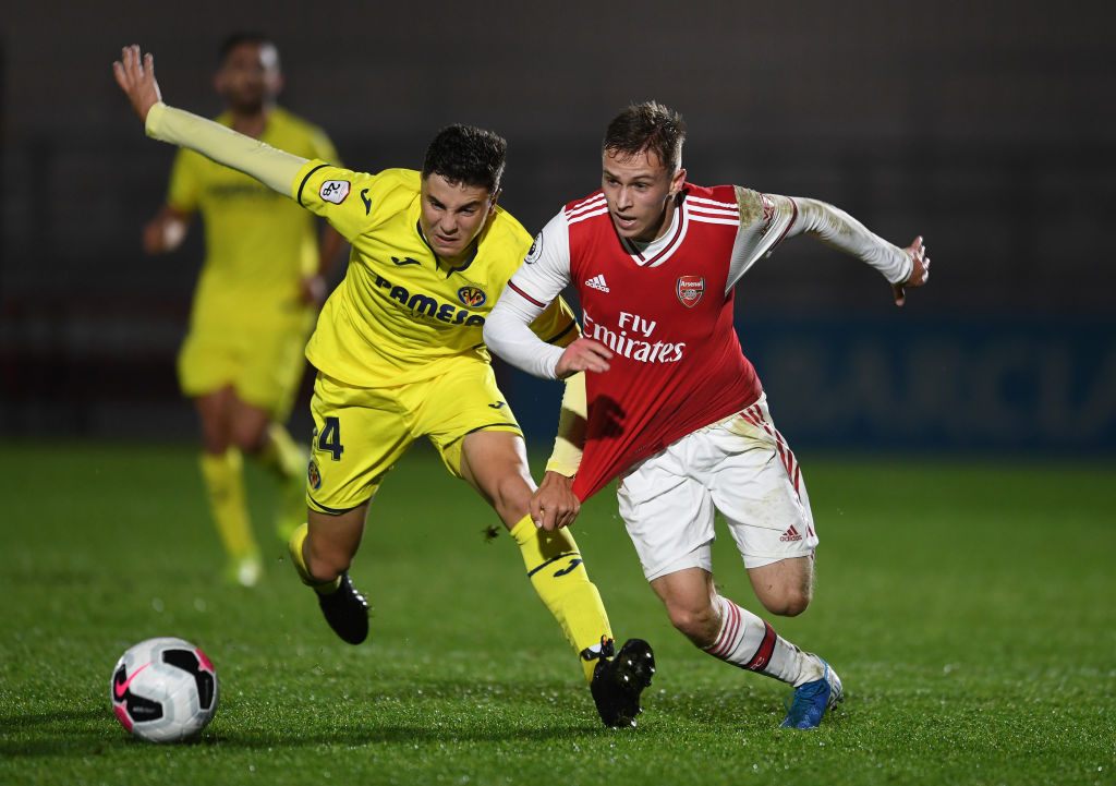 Arsenal U23 v Villarreal U23 - Premier League International Cup BOREHAMWOOD, ENGLAND - NOVEMBER 27: Nathan Tormey of Arsenal takes on Ivan Morante Ruiz of Villarreal during the match between Arsenal U23 and Villarreal at Meadow Park on November 27, 2019 in Borehamwood, England. Rangers
