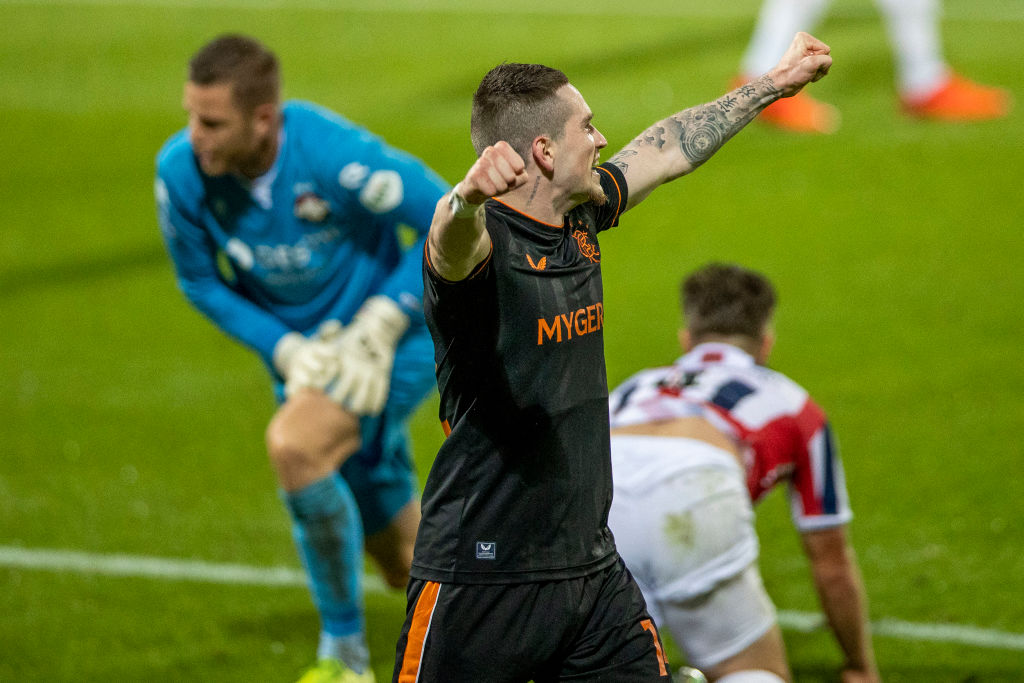 Willem II v Rangers: UEFA Europa League Third Qualifying Round TILBURG, NETHERLANDS - SEPTEMBER 24: (BILD ZEITUNG OUT) Ryan Kent of Rangers FC celebrates after scoring his teams 0-2 goal during the UEFA Europa League third qualifying round match between Willem II and Glasgow Rangers at Koning Willem II Stadium on September 24, 2020 in Tilburg, Netherlands.